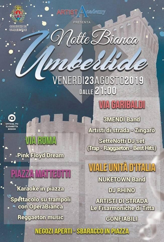 """Umbertide, il 23 agosto appuntamento con """"La Notte Bianca"""""""