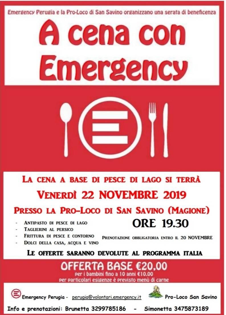 """Magione, venerdì 22 novembre tutti """"A cena con Emergency"""""""