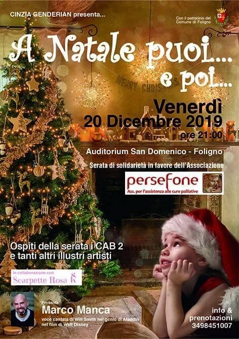 """Foligno, """"A Natale puoi... e poi"""", spettacolo di beneficenza per Persefone"""