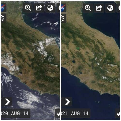 Le aree verdi in Umbria il 14 agosto 2020 e il 14 agosto 2021 da una foto satellitare